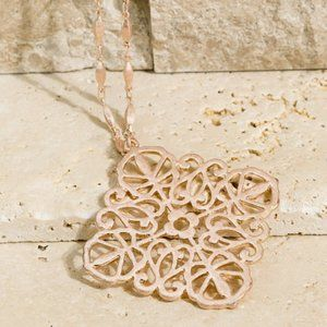 Rose Gold Metal Clover Cable Chain Necklace